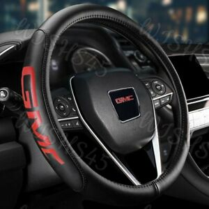 For Gmc Black New 15 Diameter Car Auto Steering Wheel Cover Genuine Leather