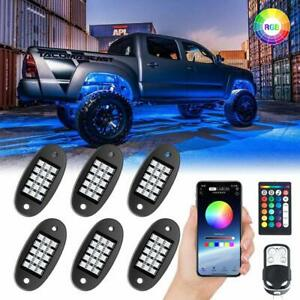Mustwin Rgb Led Rock Lights Wireless App Music Chasing Offroad Atv 12v 6 Pods