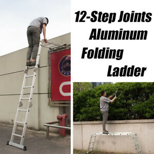 12 5ft Foldable Aluminum Ladder Folding Step Scaffold Heavy Duty Stair
