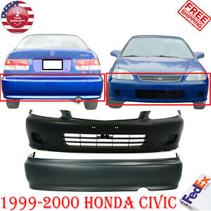 Front Rear Bumper Cover Primed Set Of 2 For 1999 2000 Honda Civic Lx Ex