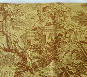 Antique Vintage French Botanical Cherub Tapestry Fabric Ochre Yellow Gold Brown