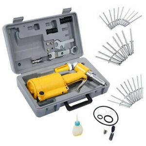 Pneumatic Air Hydraulic Pop Rivet Gun Riveter Riveting Tool W case Free Ship Set