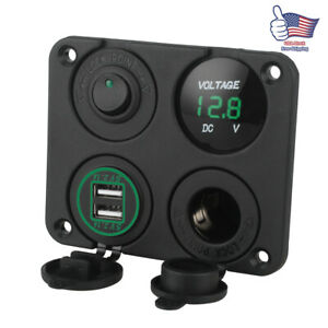 4in1 Charger Socket Panel Dc 12v 4 2a Dual Usb Power Outlet Led Voltmeter Green