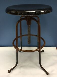 Vintage Industrial Machine Age Modernist Medical Metal Stool Art Deco A S Aloe