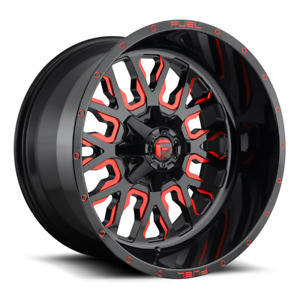 4 17x9 Fuel Gloss Black W Red Stroke Rim 5x114 3 5x127 For Ford Jeep Toyota