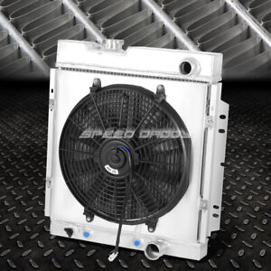 For 64 66 Ford Mustang Pony 3 Row Tri Core Aluminum Racing Radiator Fan Shroud