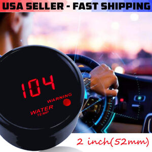 Car Black 2 52mm Red Digital Led Electronic Water Temp Temperature Gauge