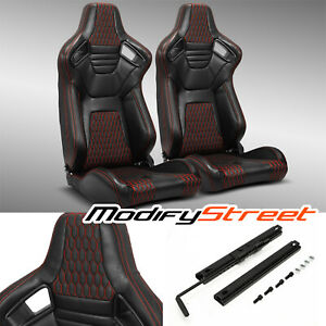 2 X Main Black red Stitiching Pvc Leather L r Racing Bucket Seats Slider