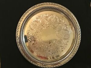 Wm Rogers Son Vintage Pierced Spring Flower Silver Plated Tray