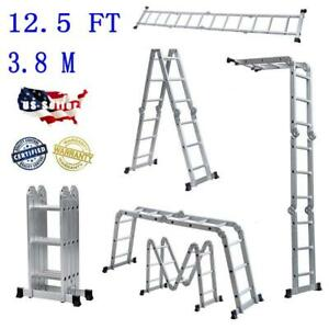 En131 Aluminum Ladder Folding 12 5ft 12 step Scaffold Extendable Platform