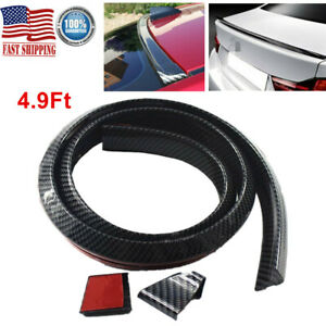 4 9ft Universal Carbon Fiber Car Spoiler Rear Roof Trunk Molding Lip Wings Black