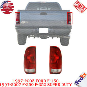 Set Of 2 Tail Lights Clear Red Lens For Ford F 150 97 03 Super Duty 99 07
