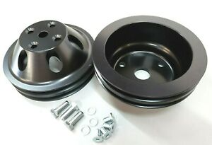 Sbc Small Block Chevy 2 Groove Aluminum Long Water Pump Pulley Kit 327 350 Black