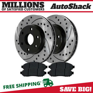 Front Performance Drilled Slotted Brake Rotors Ceramic Pads Kit