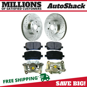 Front Caliper Metallic Brake Pad Drilled Rotor Bundle For 2003 2008 Corolla
