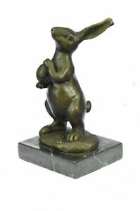 Sculpture Statue Vintage Metal Bunny Rabbit Abstract Modernism Figurine Bronze