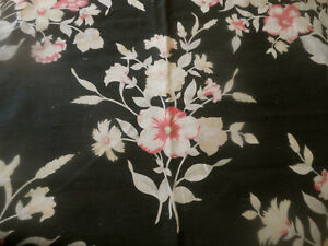 Antique Vintage 1940 S Shabby Floral Cotton Fabric Black Rose Pink White Tan