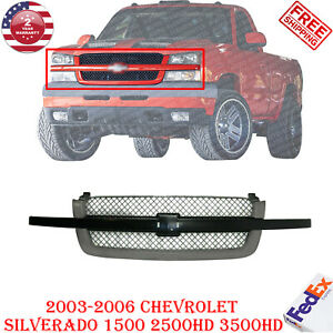 Grille Painted Black For 2003 2007 Chevy Silverado 1500 2500 3500 Avalanche