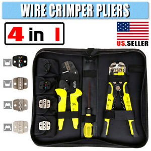 4 In 1 Ratcheting Wire Cable Stripper Crimper Pliers Terminal Tool Working Ce
