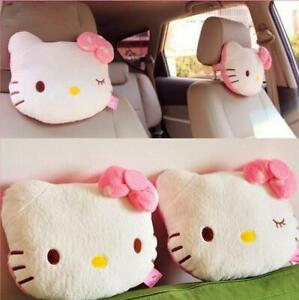 2pcs Cute Hello Kitty Neck Pillow Auto Car Seat Headrest Travel Pillows Support