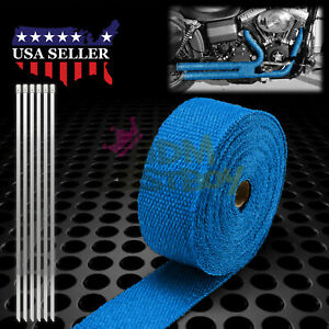 Blue Exhaust Pipe Insulation Thermal Heat Wrap 2 X 50 Motorcycle Header