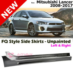 Fq Style Side Skirts Unpainted Black Left Right For Mitsubishi Lancer 08 17