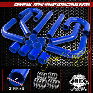 Universal 8pc 3 Aluminum Fmic Intercooler Piping silicone Hose T clamp Blue