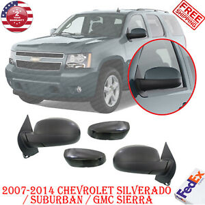 Power Side Mirrors Heated Folding Black Left Right Side For 2007 14 Chevy Gmc