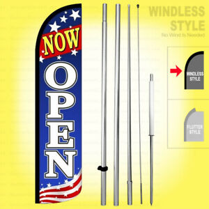 Now Open Windless Swooper Flag Kit 15 Feather Banner Sign Patriotic Bzja6 h