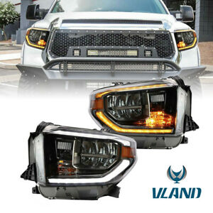 Led Drl Headlights For 2014 2019 Toyota Tundra W Dynamic Sequential Indicator