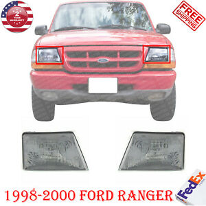 Halogen Headlamps Left Right Hand Side Pair Assembly For 1998 2000 Ford Ranger
