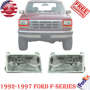 Halogen Headlight Assembly Right left Side For 1992 1997 Ford F series