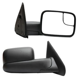 Pair Manual Operate Towing Mirrors For 1994 2001 Dodge Ram 1500 2500 3500