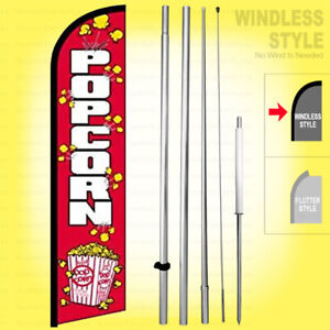 Popcorn Windless Swooper Flag Kit 15 Feather Banner Sign Rainbow Rf h
