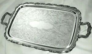 Vintage Antique Oneida Silver Plate Butlers Serving Tray W Handles