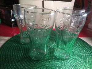 Vintage 3 GREEN LIBBEY COCA-COLA GLASSES 15 OUNCE 6'' TALL