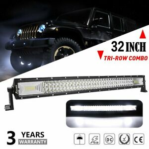 32 Tri Row Led Work Light Bar Spot Flood Combo Offroad Driving For Jeep Truck