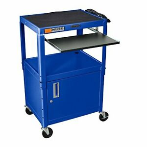 Luxor Adjustable Height Blue Metal A v Cart W Pullout Keyboard Tray And Cabinet