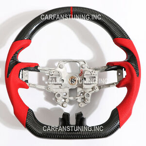 Carbon Fiber Steering Wheel Red Stripe Leather For Ford Mustang Ecoboost Gt 2019