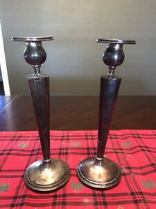 Antique Vintage Pair Of Weighted Sterling Silver 9 3 4 Tall Candlesticks Used