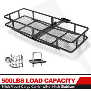 Capacity 500lbs Cargo Carrier Rack Folding Luggage Basket W Net Hitch Stabilizer