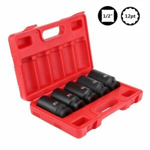5pcs 12 Point 4pcs 1 2 Drive Deep Spindle Axle Nut Socket Set 30 32 34 35 36mm