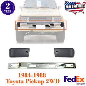 Front Bumper Chrome Steel End Caps For 84 88 Toyota Pickup 2wd 3pc Bumper