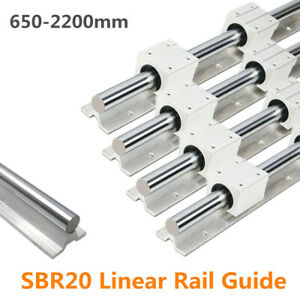 Sbr20 650 2200mm Linear Slide Rail Guide Shaft Rod With 4pcs Sbr20 Bearing Block