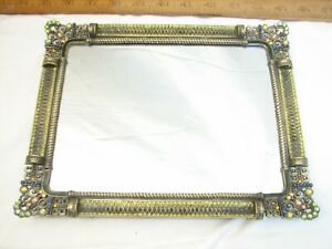 Small Vintage Pewter Mirrored Jeweled Dresser Perfume Tray Vanity Jewelry