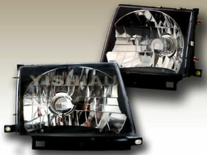 1997 1998 1999 2000 Toyota Tacoma Headlights Black Lamps Jdm