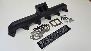 Steed Speed T4 Angled Turbo Flange Manifold For 94 98 Dodge Ram 5 9l 12v Cummins