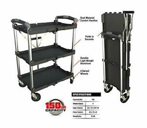 Olympia Tools 85 188 3 Shelf Collapsible Service Cart heavy Duty each Shelf