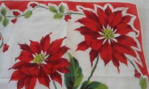 Vintage Christmas Hanky Poinsettia Holly Berries Hand Rolled Red Large