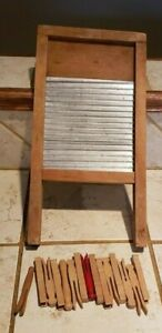 Vintage Small Wood Metal Child S Washboard Clothes 15 Clothes Pins